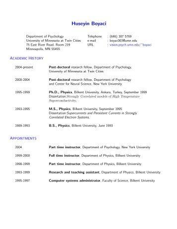 Huseyin Boyaci - Vision Research Laboratories - University of ...