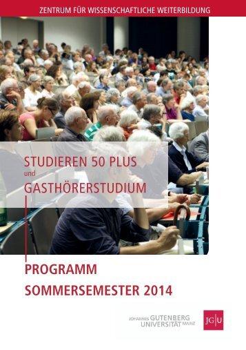 programm sommersemester 2014 - Zentrum für wissenschaftliche ...