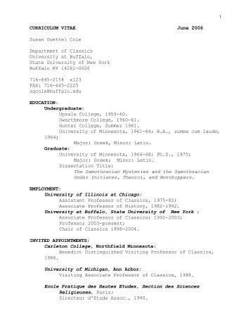 CURRICULUM VITAE June 2006 Susan Guettel Cole Department of ...