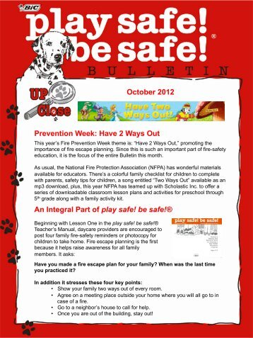 October 2012 - Play Safe! Be Safe!