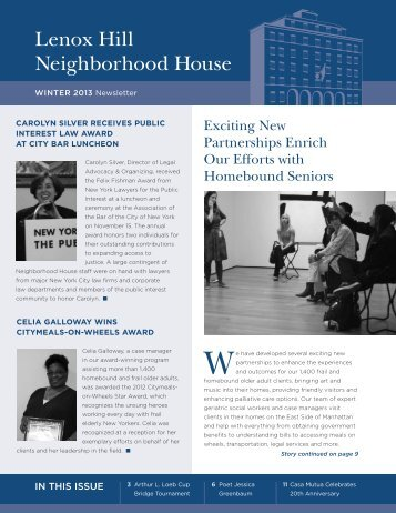 Winter 2013 Newsletter - Lenox Hill Neighborhood House