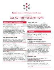 ALL ACTIVITY DESCRIPTIONS - Lenox Hill Neighborhood House