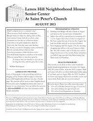 Lenox Hill Neighborhood House Senior Center At Saint Peter's Church