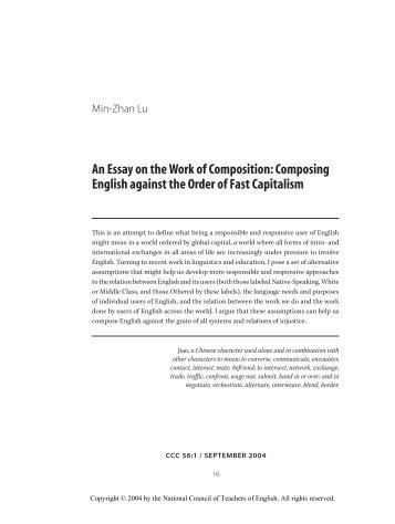 An Essay on the Work of Composition: Composing English against ...