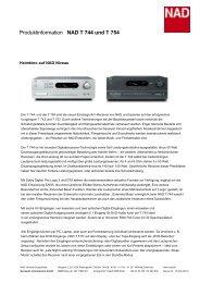 Produktinformation NAD T 744 und T 754