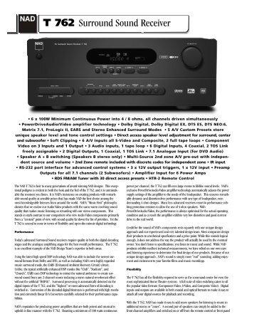T 762 Surround Sound Receiver - NAD