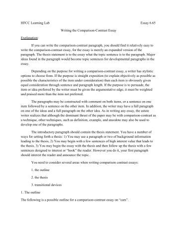 I need help writing a compare and contrast essay?
