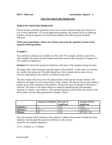 Mixture Problems Worksheet Kidz Activities