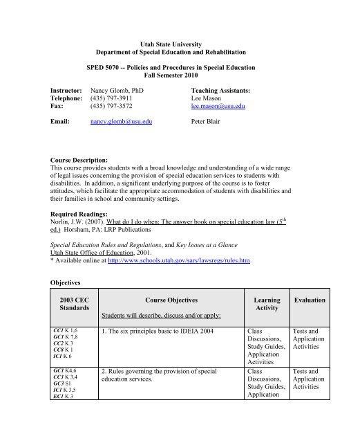 Utah Department Of Education >> Syllabus Department Of Special Education Rehabilitation Utah