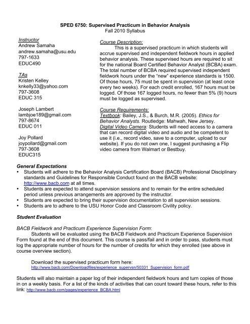6750 Practicum syllabus and schedule BCBA