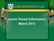 Parent Information Presentation - Doncaster Hockey Club