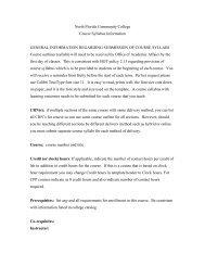 Course Syllabus Requirements - North Florida Community College