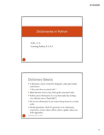 Dictionaries in Python Dictionaries in Python Dictionary Basics