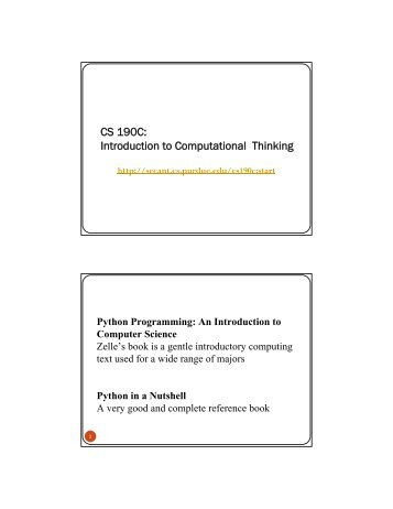 CS 190C - Science Education in Computational Thinking