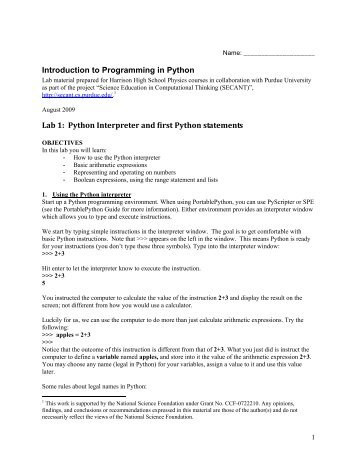 Introduction to Programming in Python Lab 1 - Science Education in ...