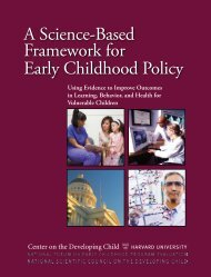 A Science-Based Framework for Early Childhood Policy