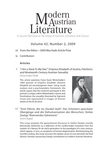 Volume 42, Number 2, 2009 - Austrian Studies Association
