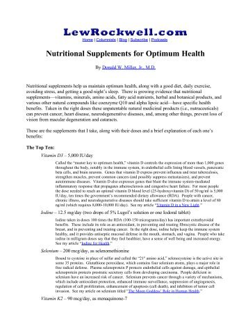 Nutritional Supplements for Optimum Health - Donald W. Miller