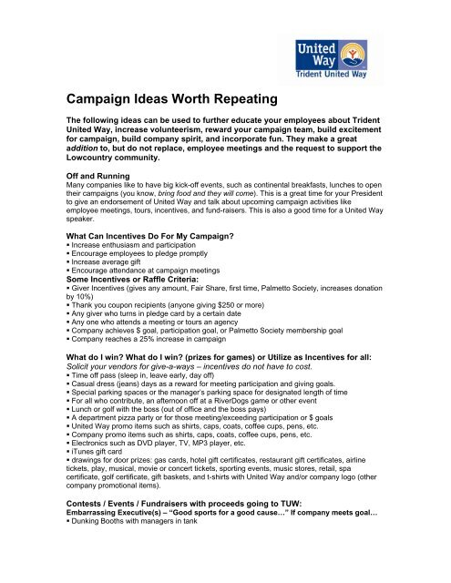 Campaign Ideas Worth Repeating - Trident United Way