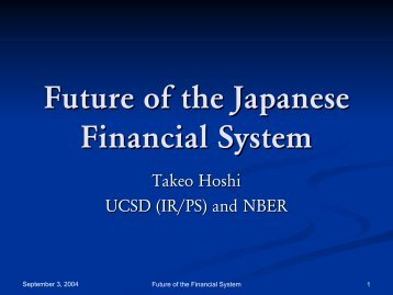 Future of the Japanese Financial Financial System