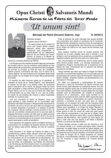 Ut unum sint! - Misioneros Siervos de los Pobres del Tercer Mundo