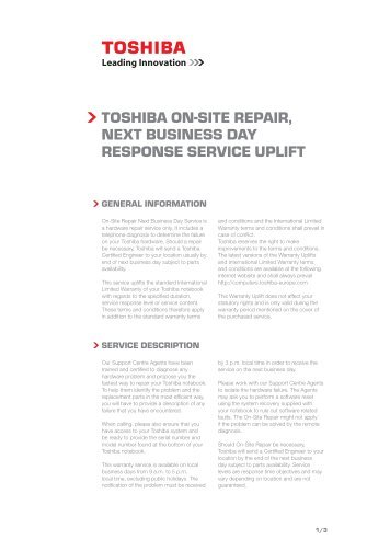 Toshiba on-siTe RepaiR, nexT business Day Response seRvice uplifT