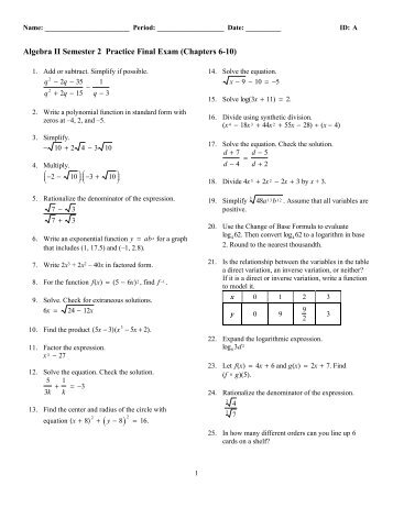 algebra 1 final exam with answers 2013 worksheet review. Black Bedroom Furniture Sets. Home Design Ideas
