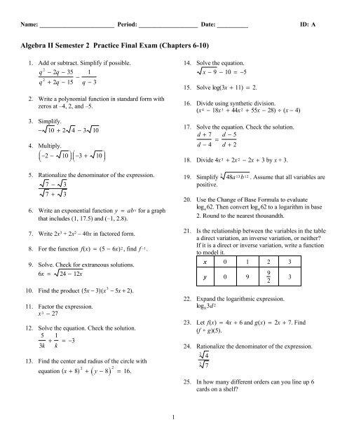 Algebra 2 Semester 2 Practice Final Summer 13