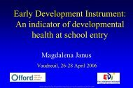 Colloquia April 2006 - Early development instrument: An indicator of ...