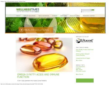 Omega-3 Fatty Acids and Immune Function | Wellness Times