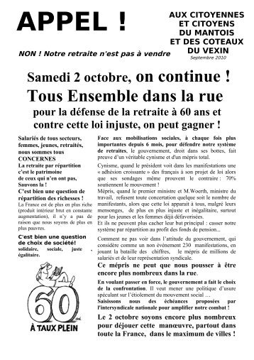 tract 2 octobre 2010 - Attac 78 nord