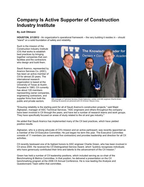 Charlie Green Recognized with CII Distinguished Service Award