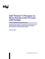 Intel® Pentium® 4 Processor on 90nm Process in the 775–Land LGA