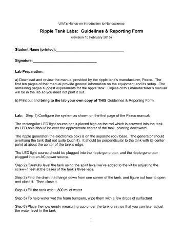 Ripple Tank Lab Guidelines - 23 Sept 2013 - UVA Virtual Lab