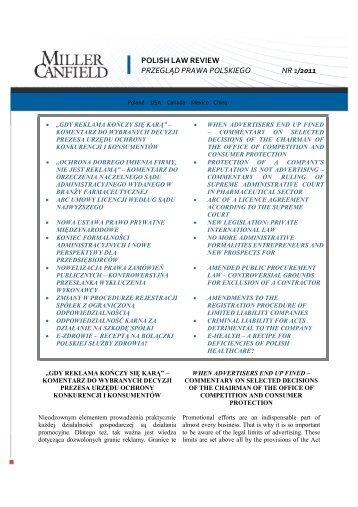 polish law review przegląd prawa polskiego nr 1/2011 - Miller Canfield