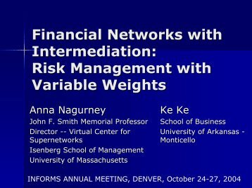 Financial Network with Intermediation - The Virtual Center for ...