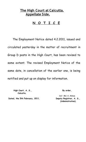 Employment Notice dated 04.02.2011 for recruitment to the Group-D ...