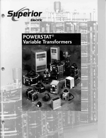 POWERSTAT Variable Transformer Catalog - Danaher Specialty ...