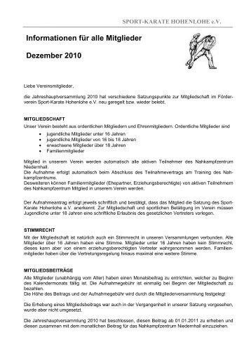 Informationen für alle Mitglieder Dezember 2010