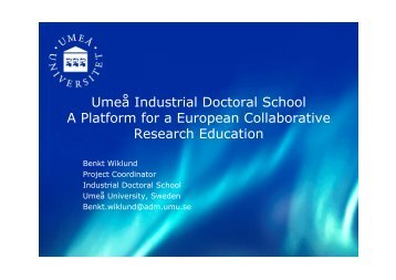 European Industrial Doctoral School - Projekty