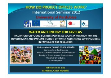 WATER AND ENERGY FOR FAVELAS - Projekty