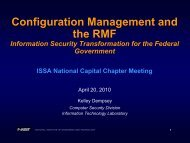 Configuration Management and the RMF - ISSA National Capital ...