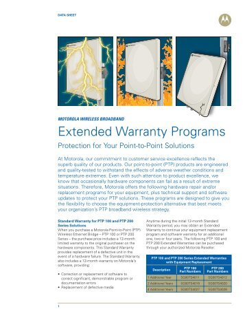 Extended Warranty Programs - Wireless Network Solutions
