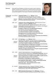 Piotr Rykaczewski Curriculum Vitae