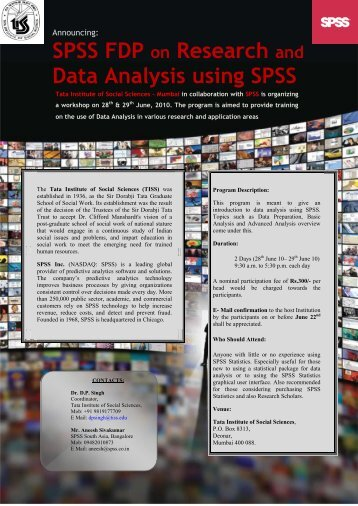 SPSS FDP on Research and Data Analysis using ... - Physioblasts.Org