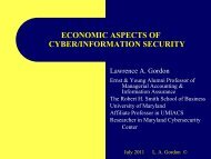 economic aspects of cyber/information security - ISSA National ...