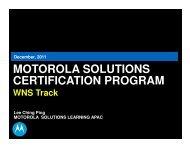Motorola Solutions Certification Program - Wireless Network Solutions