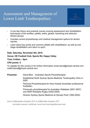 Assessment and Management of Lower Limb Tendinopathies