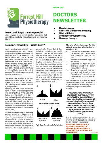 Doctor S Newsletter Forrest Hill Physiotherapy