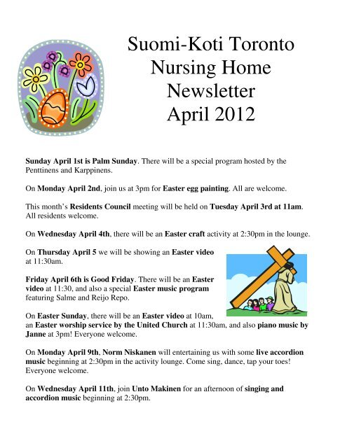 Suomi Koti Toronto Nursing Home Newsletter April 2012